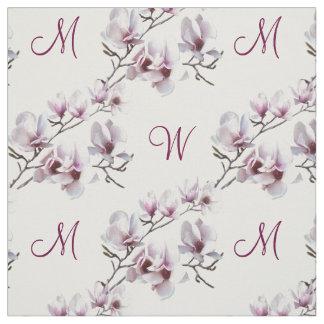 Elegantes schickes Frühling Magnolienmonogramm Stoff