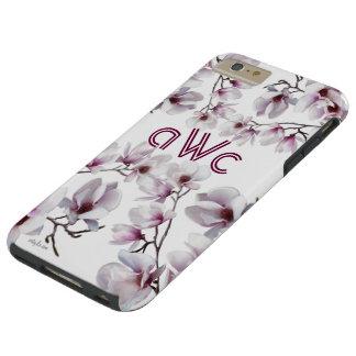 Elegantes schickes rosa Magnolienmonogramm Tough iPhone 6 Plus Hülle