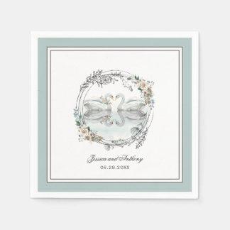 Elegantes Schwan-Aquarell-Blumenhochzeit Papierserviette
