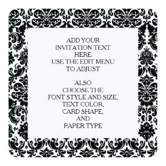 Elegantes Schwarz-weißes Vintages Damast-Muster Quadratische 13,3 Cm Einladungskarte