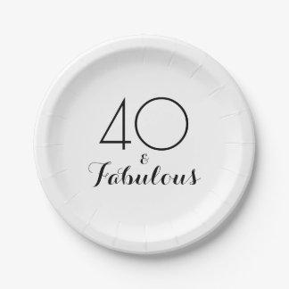 Elegantes Schwarzes 40 und fabelhafter Pappteller