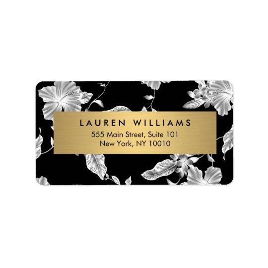 Elegantes schwarzes BlumenAdressen-Etikett des Adress Aufkleber