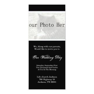 Elegantes Schwarzes, das Ihre Foto-Hochzeit 10,2 X 23,5 Cm Einladungskarte