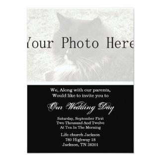 Elegantes Schwarzes, das Ihre Foto-Hochzeit 14 X 19,5 Cm Einladungskarte