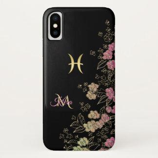 Elegantes schwarzes Goldblumentierkreis-Zeichen iPhone X Hülle