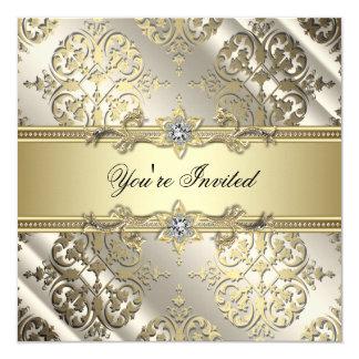 Elegantes schwarzes Golddamast-Party Quadratische 13,3 Cm Einladungskarte