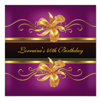 Elegantes schwarzes Pflaumen-Goldjuwel-40. Quadratische 13,3 Cm Einladungskarte