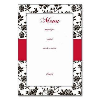 Elegantes schwarzes Rosen-Menü Karte