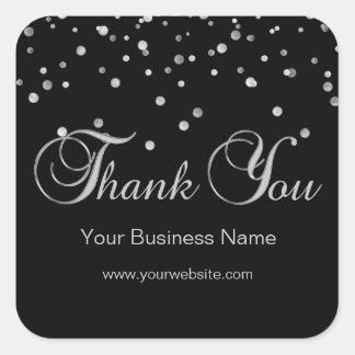 Elegantes schwarzes silbernes Geschäft danken Quadratischer Aufkleber
