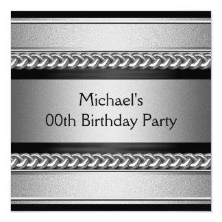 Elegantes schwarzes silbernes quadratische 13,3 cm einladungskarte