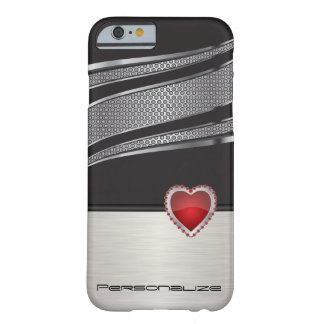 Elegantes Schwarzes und silbern mit rotem Barely There iPhone 6 Hülle