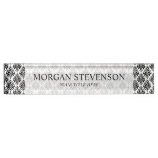 Elegantes Schwarzweiss-Damast-Muster Schreibtischplakette