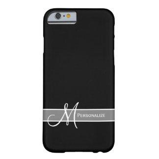 Elegantes Schwarzweiss-Monogramm mit Namen Barely There iPhone 6 Hülle