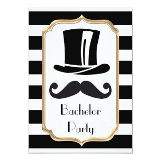 Elegantes Schwarzweiss-Streifen-Junggeselle-Party 12,7 X 17,8 Cm Einladungskarte