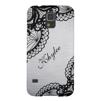 Elegantes Silber mit schwarzem Samsung S5 Hülle