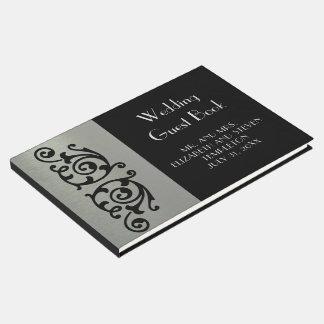 Elegantes Silber und schwarzer HochzeitGuestbook Gästebuch