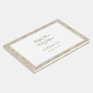 Elegantes Silber und weiße Grenzhochzeit Gästebuch