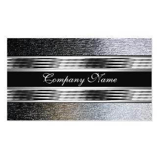 Elegantes silbernes Chrom-Metallschwarzes 2 Visitenkartenvorlagen