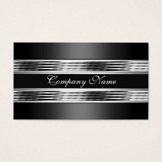 Elegantes silbernes Chrom-Metallschwarzes 3 Visitenkarte
