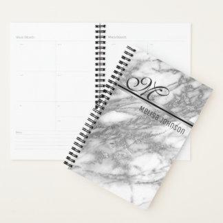 Elegantes silbernes Marmorierungmonogramm Planer