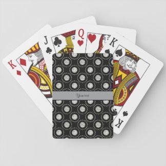 Elegantes silbernes Tupfen-Schwarzes Spielkarten