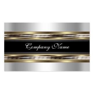 Elegantes silbernes Zinn-Chrom-Metallschwarzes Visitenkartenvorlage