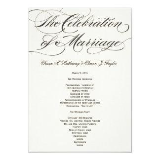 Elegantes Skript-Hochzeits-Programm - Schwarzes 12,7 X 17,8 Cm Einladungskarte