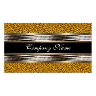 Elegantes Snakeskin gelbes Chrom-Metallschwarzes Visitenkarten