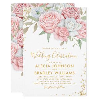 Elegantes staubiges rosa Goldblumengarten-Hochzeit Karte