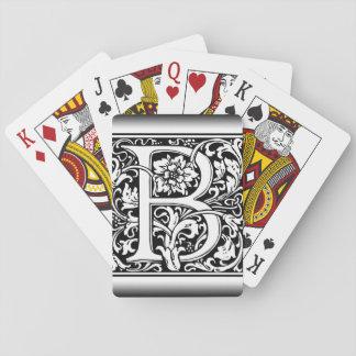 Elegantes Vintages Blumenmonogramm des buchstabe-B Pokerkarte