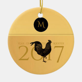 Elegantes Vintages Hahn-Jahr-Monogramm 2017 O Rundes Keramik Ornament