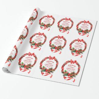 Elegantes WeihnachtsKranz-Packpapier Geschenkpapier