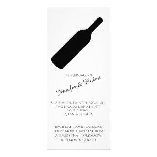 Elegantes Wein-Hochzeits-Schwarzweiss-Programm Kartendruck