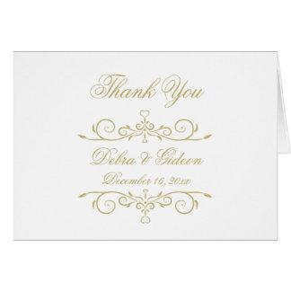 Elegantes Weiß-und Goldmonogramm danken Ihnen Mitteilungskarte