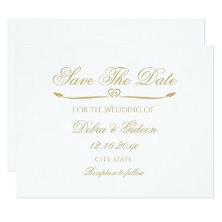 Elegantes Weiß-und Goldmonogramm Save the Date 10,8 X 14 Cm Einladungskarte