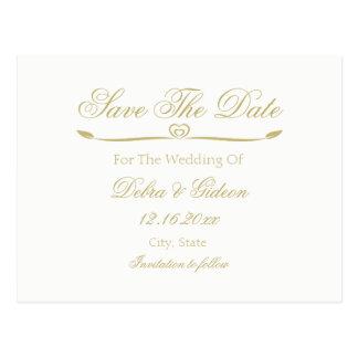 Elegantes Weiß-und Goldmonogramm Save the Date Postkarte