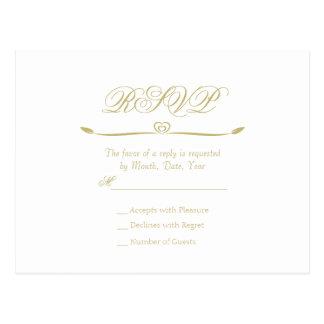 Elegantes Weiß-und Goldmonogramm UAWG Postkarte