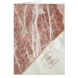 Elegantes weißes Marmormonogramm des Rosen-Gold| Karte