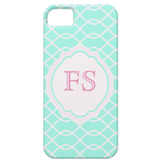 ELEGANTES WELLEN-MUSTER-MONOGRAMM - aquamariner iPhone 5 Etuis