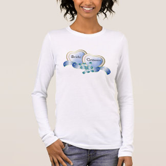 Eleganthearts-blau-Braut-Bräutigam Langärmeliges T-Shirt