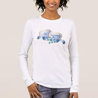 Eleganthearts-blau-Frau-lastname Langärmeliges T-Shirt