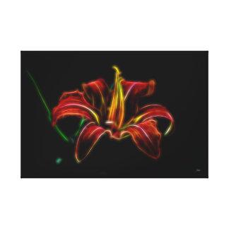 Elektrifizierte orange Lilien-Leinwand-Wand-Kunst Leinwanddruck