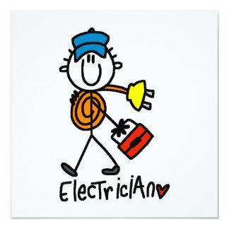 Elektriker-Strichmännchen Quadratische 13,3 Cm Einladungskarte
