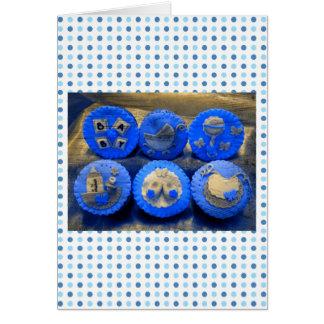 Elektrische blaue Baby-kleine Kuchen Karte