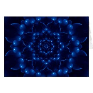 Elektrische blaue Kaleidoskop-Mandala-Gruß-Karte Grußkarte