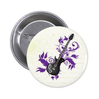 Elektrische Gitarre auf lila Runder Button 5,1 Cm