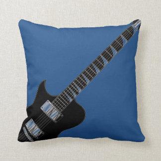 Elektrische Gitarren-blaues Schwarz-Pop-Kunst Kissen