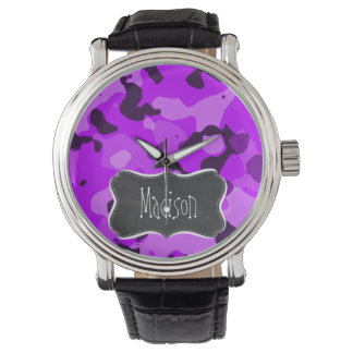 Elektrische lila Camouflage; Vintager Tafelblick Uhr