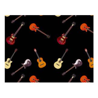 Elektrische u. Akustikgitarre-Collage Postkarte