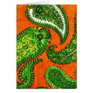 Elektrischer orange u. grüner Inder Paisley Karte